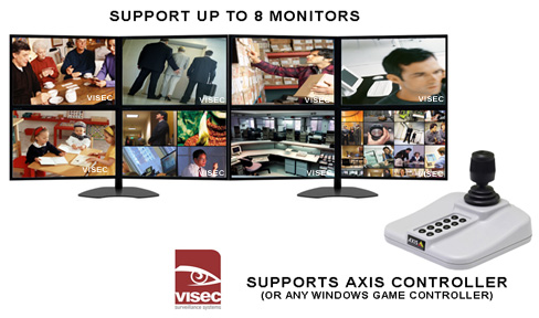 Visec Axis Camera Software Supports up to 8 Monitors